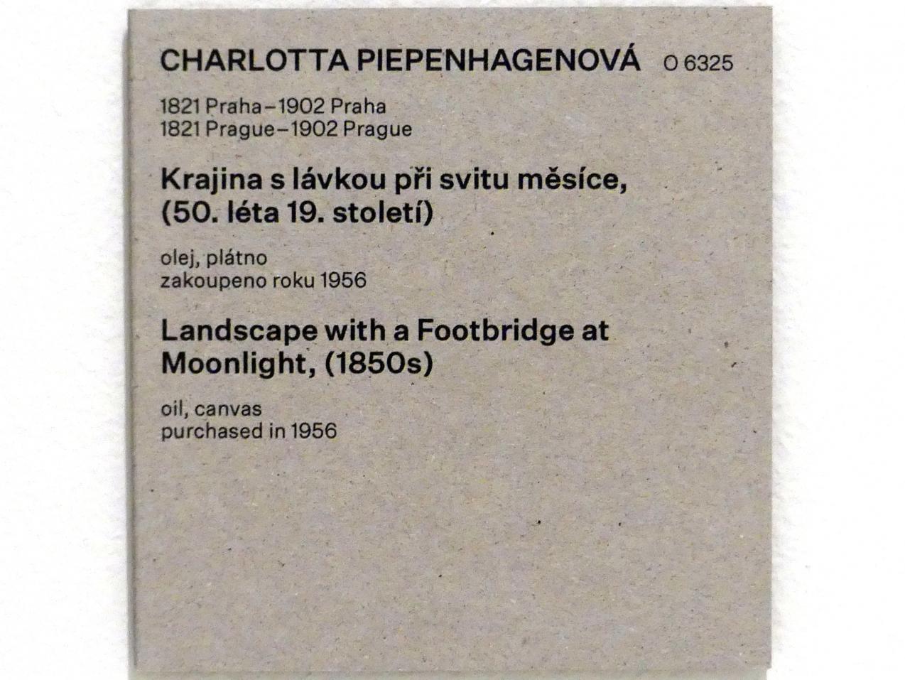 Charlotte Piepenhagen: Landschaft mit Steg bei Mondschein, um 1850 - 1860, Bild 2/2