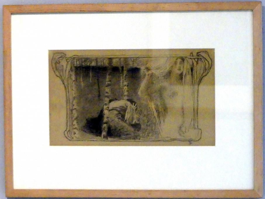 Jan Preisler: Illustration für das Gedicht von Julius Zeyer, Das Lied über die Trauer des guten jungen Mannes Roman Vasilich, 1899