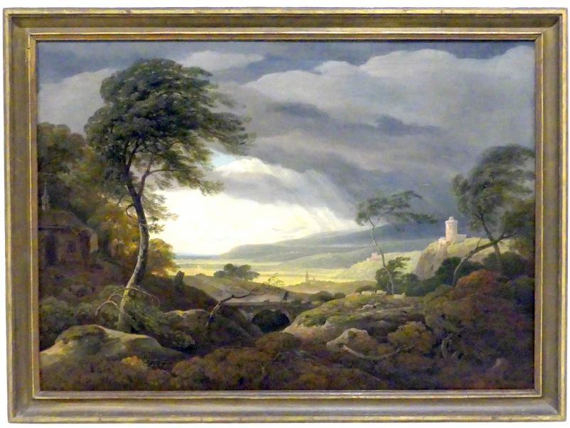 Antonín Mánes: Stürmische Landschaft mit Burgen Kokořín und Křivoklát, 1834