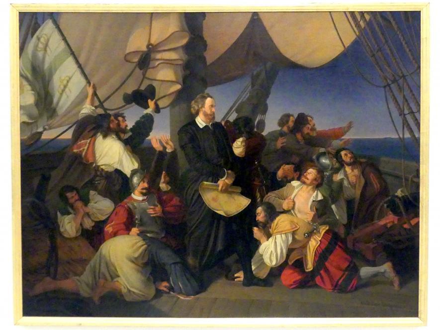 Christian Ruben: Kolumbus erobert die Küste von Amerika, 1846, Bild 1/2