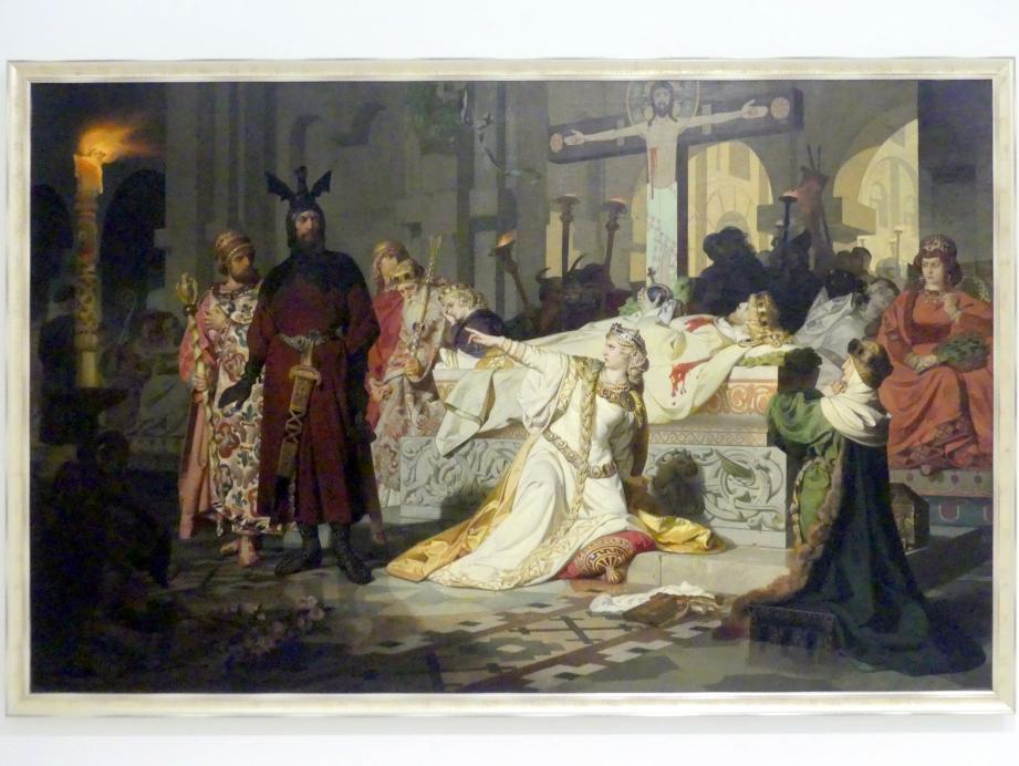 Emil Johann Lauffer: Kriemhilds Anschuldigung (Kriemhild beschuldigt Gunther und Hagen des Mordes an ihrem Ehemann Siegfried), 1879