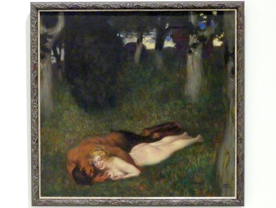 Franz von Stuck: Faun und Nymphe (neckend), um 1892