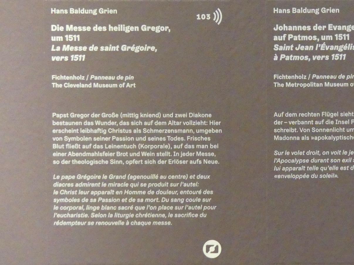 Hans Baldung Grien: Die Messe des heiligen Gregor, um 1511