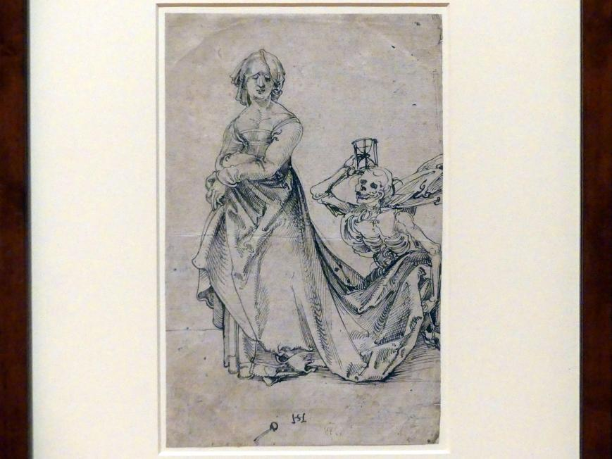 Hans Schäufelein: Frau und Tod als Schleppenträger, um 1505 - 1506