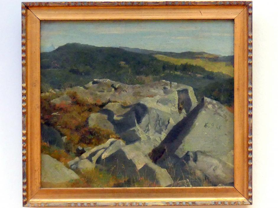 Hans Thoma: Blick auf Felsen und Höhenzüge, 1861