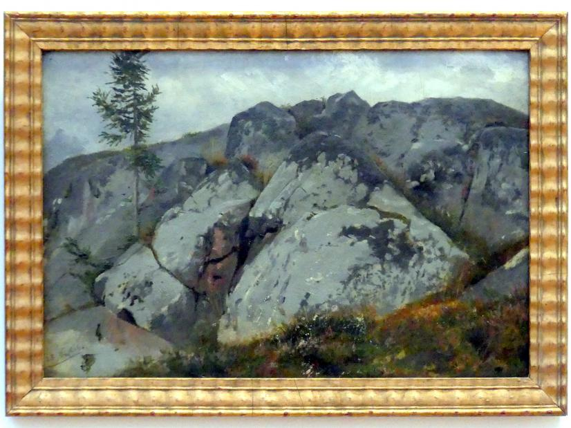 Hans Thoma: Felsblöcke mit Tännchen, 1861
