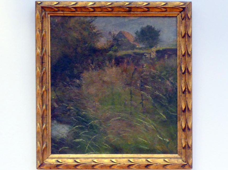 Hans Thoma: Wiese, im Hintergrund ein Bauernhaus, Undatiert