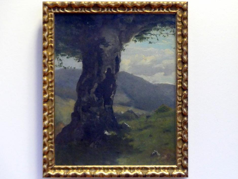 Hans Thoma: Alter Baumstamm mit Blick ins Tal, Undatiert