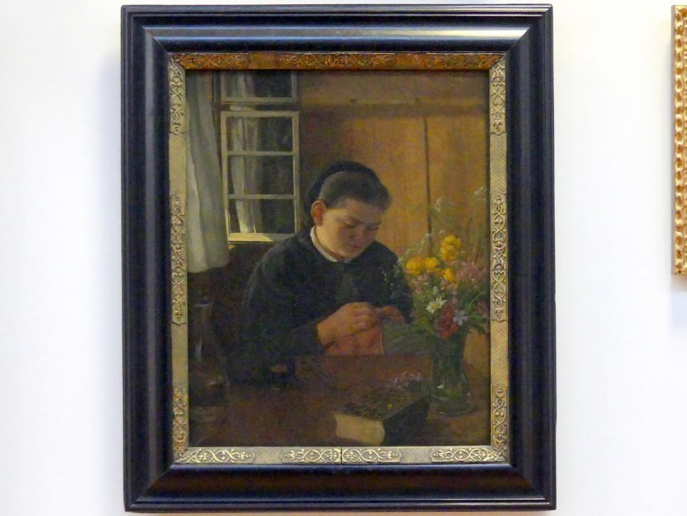 Hans Thoma: Nähendes Mädchen, 1868