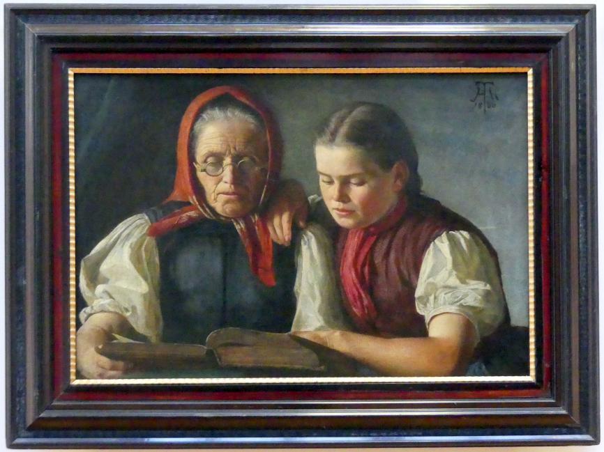 Hans Thoma: Mutter und Schwester des Künstlers, in der Bibel lesend, 1866