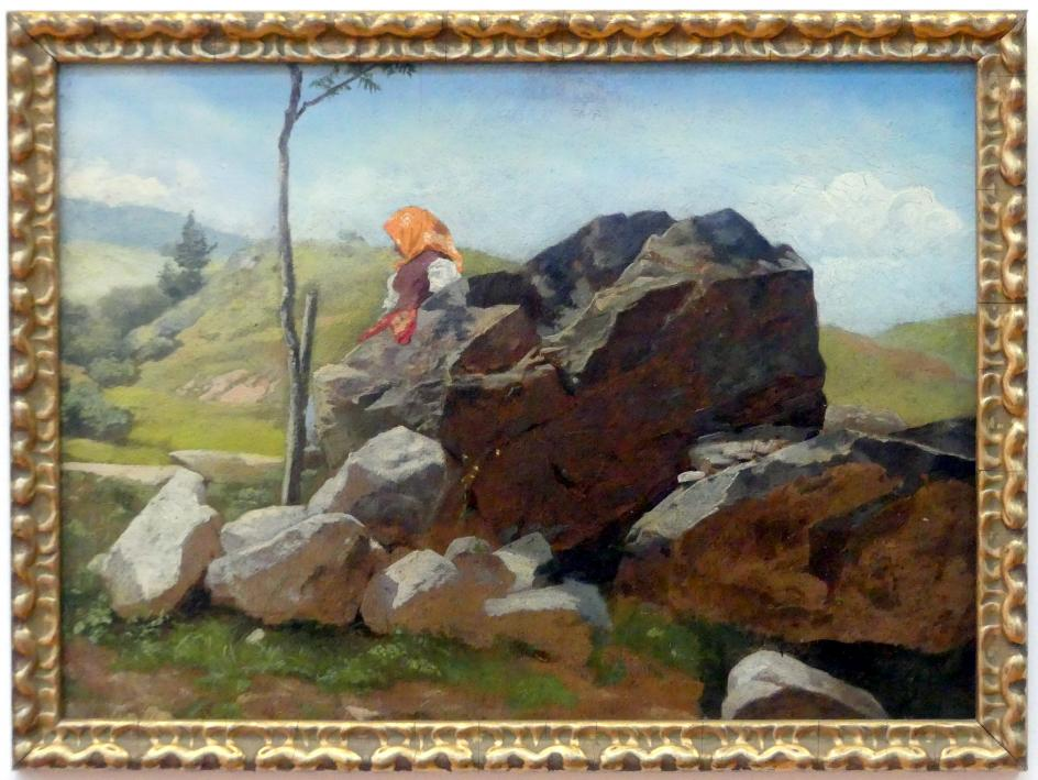 Hans Thoma: Felsblöcke mit sitzendem Bauernmädchen, Undatiert