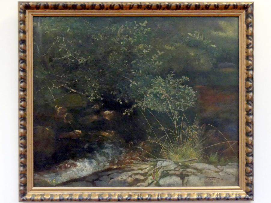 Hans Thoma: Bachufer mit Gebüsch und Gräsern, 1863