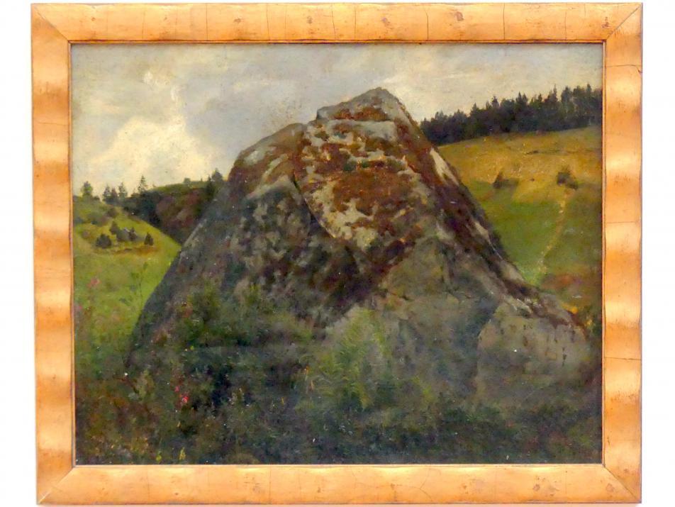 Hans Thoma: Felsblock in einem Wiesental, Undatiert