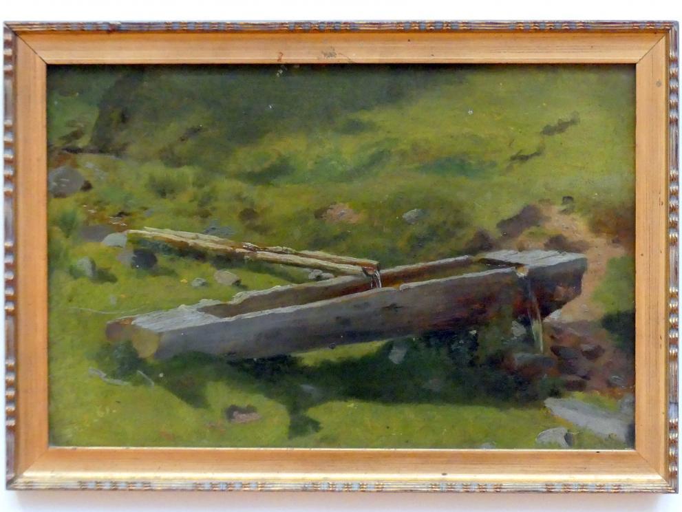 Hans Thoma: Baumstamm am Brunnentrog, 1861