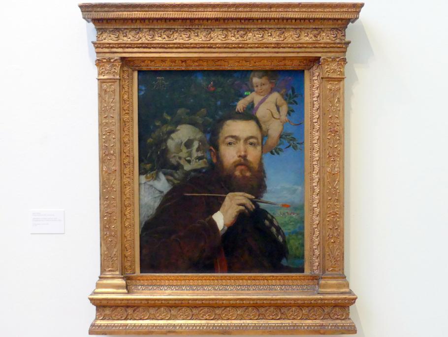 Hans Thoma: Selbstbildnis mit Amor und Tod, 1875