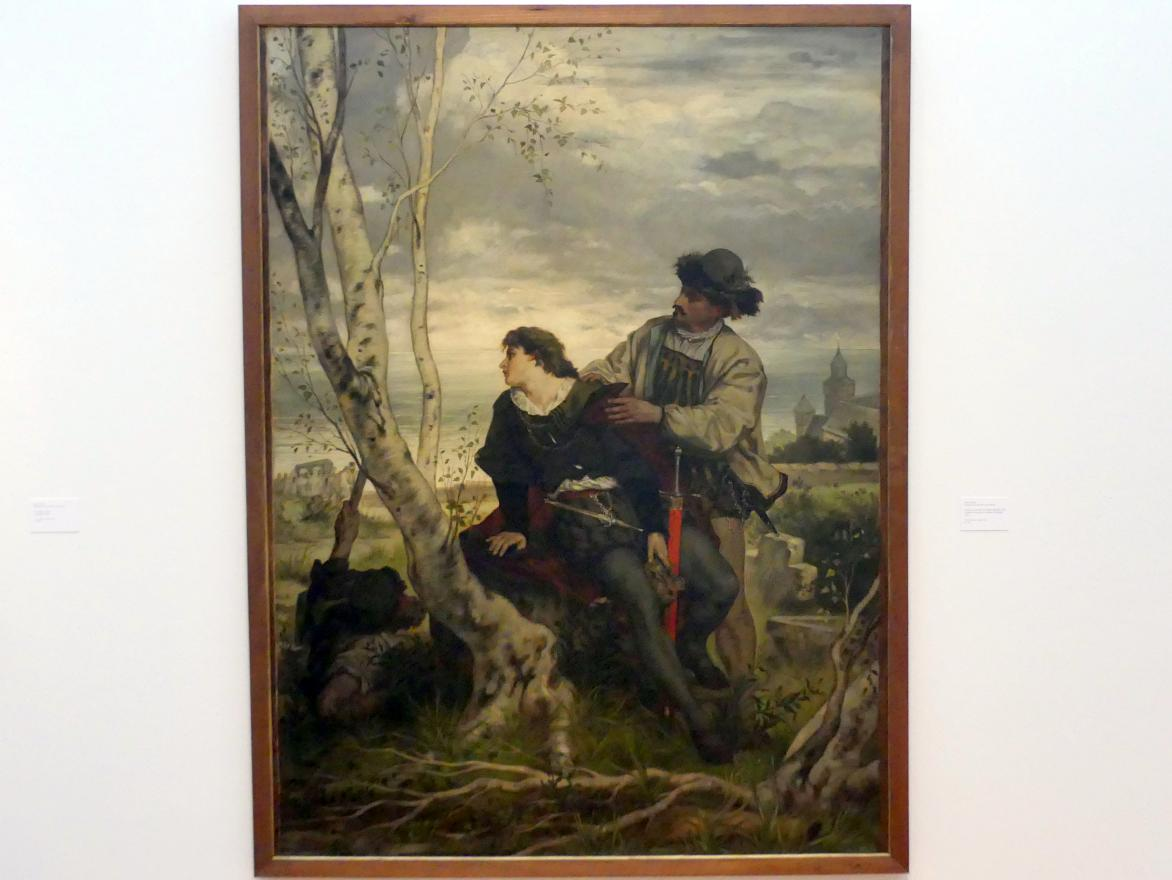 Hans Thoma: Hamlet und Horatio am Grabe Ophelias, 1872