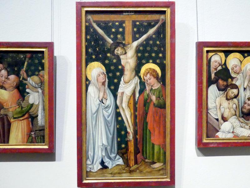 Meister des Tennenbacher Altars: Christus am Kreuz zwischen Maria und Johannes, um 1430 - 1435