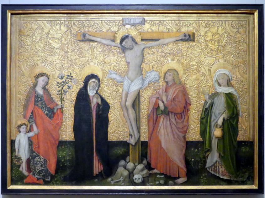 Christus am Kreuz zwischen Maria und Johannes mit den Heiligen Dorothea und Verena, um 1440