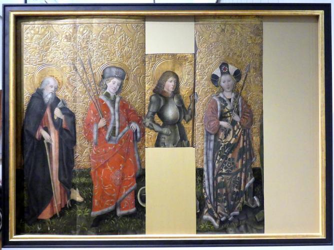 Die Heiligen Antonius der Eremit, Sebastian, Georg und Ursula, um 1440