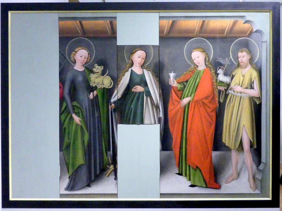 Die Heiligen Margarethe, Katharina, Maria Magdalena und Johannes der Täufer, um 1440
