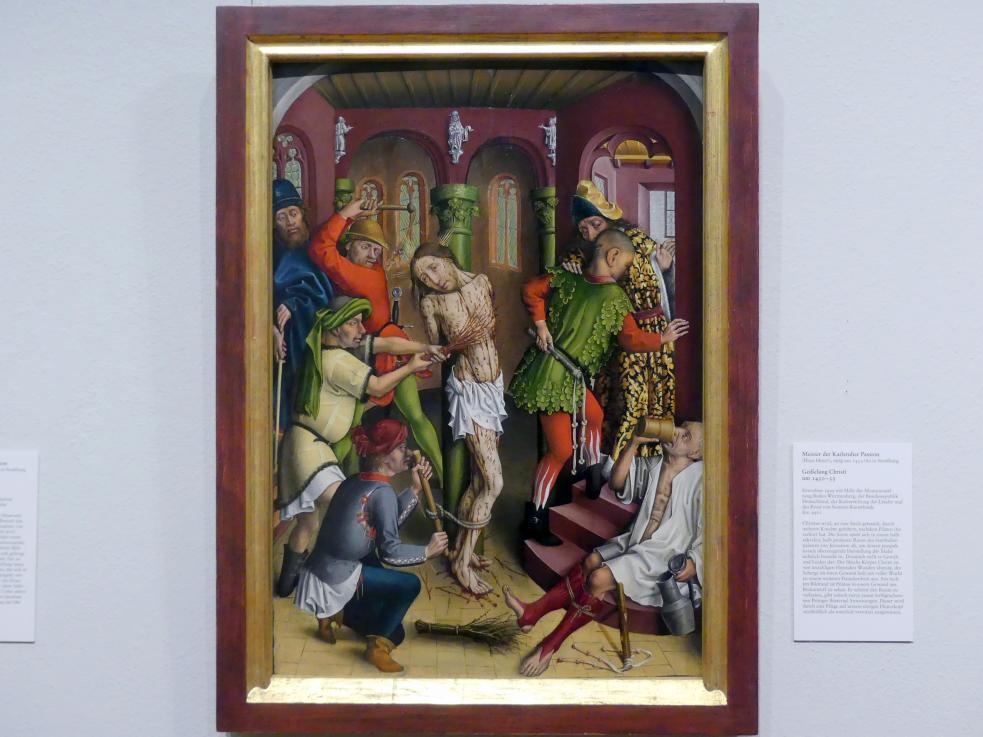 Meister der Karlsruher Passion: Geißelung Christi, um 1450 - 1455