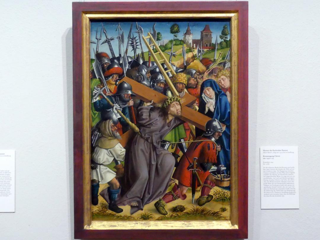 Meister der Karlsruher Passion: Kreuztragung Christi, um 1450 - 1455