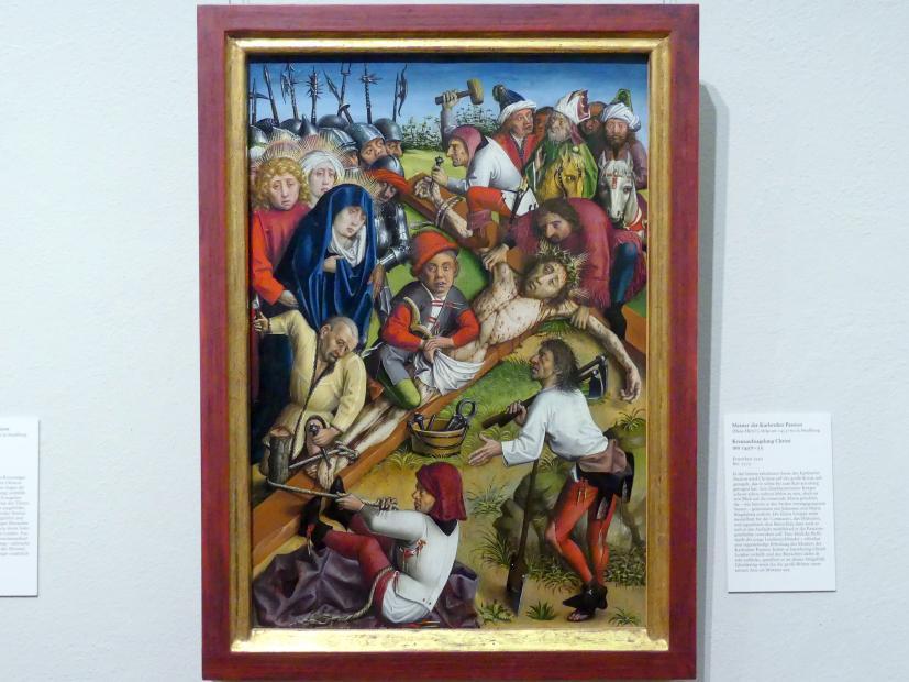 Meister der Karlsruher Passion: Kreuzaufnagelung Christi, um 1450 - 1455