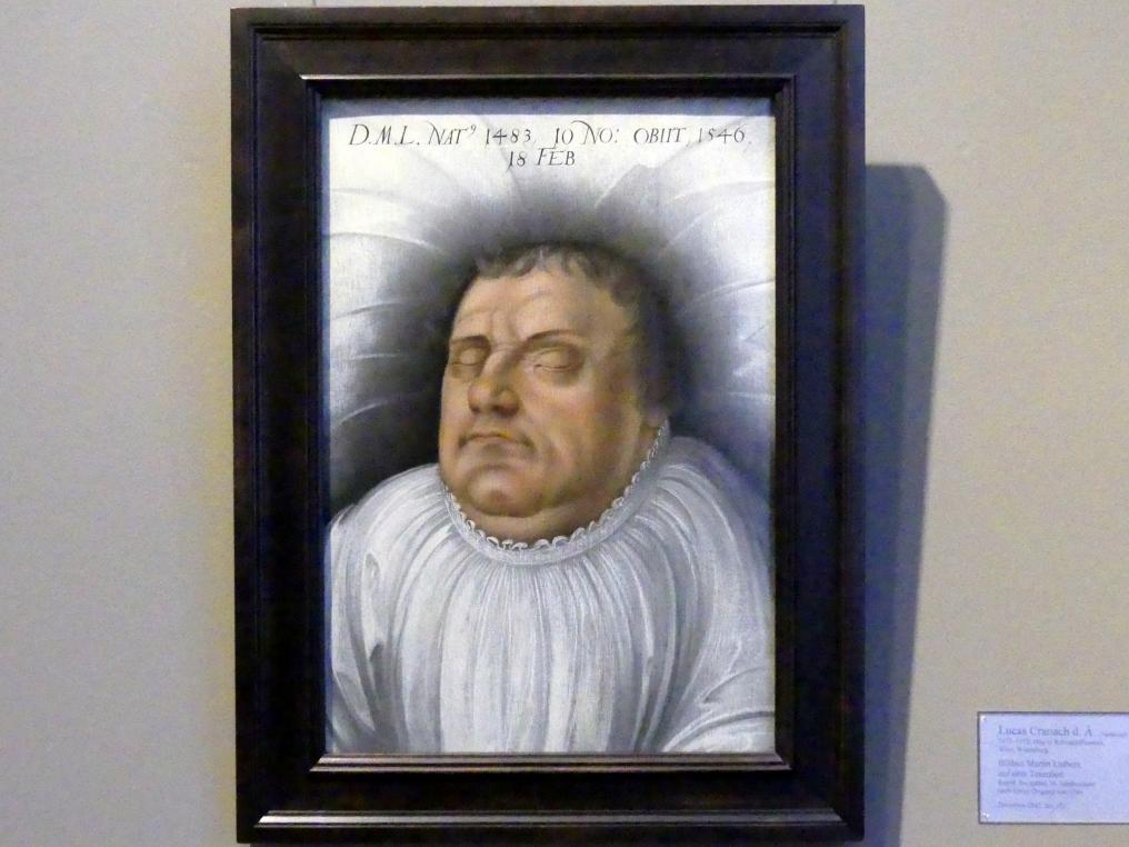 Lucas Cranach der Ältere (Nachfolger): Bildnis Martin Luthers auf dem Totenbett, Ende 16. Jhd.