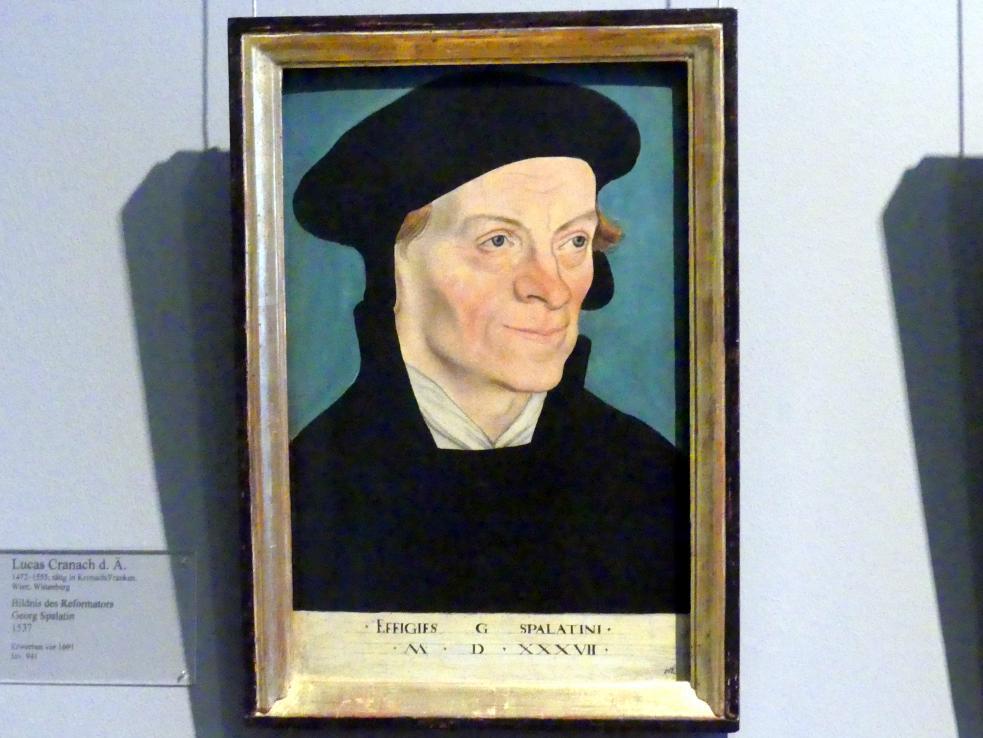 Lucas Cranach der Ältere: Bildnis des Reformators Georg Spalatin, 1537