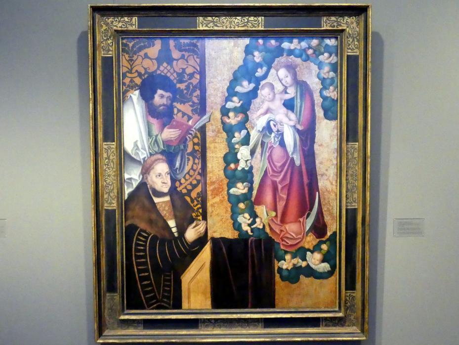 Lucas Cranach der Ältere: Friedrich der Weise in Verehrung der apokalyptischen Muttergottes, um 1515