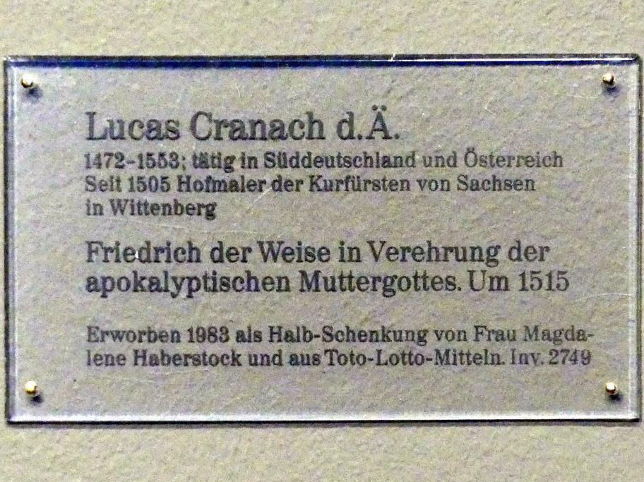 Lucas Cranach der Ältere: Friedrich der Weise in Verehrung der apokalyptischen Muttergottes, um 1515, Bild 3/3