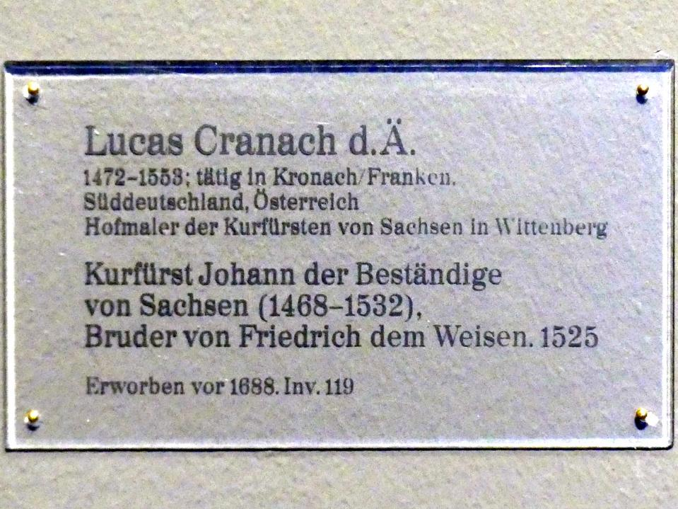 Lucas Cranach der Ältere: Kurfürst Johann der Beständige von Sachsen (1468-1532), Bruder von Friedrich dem Weisen, 1525, Bild 2/2