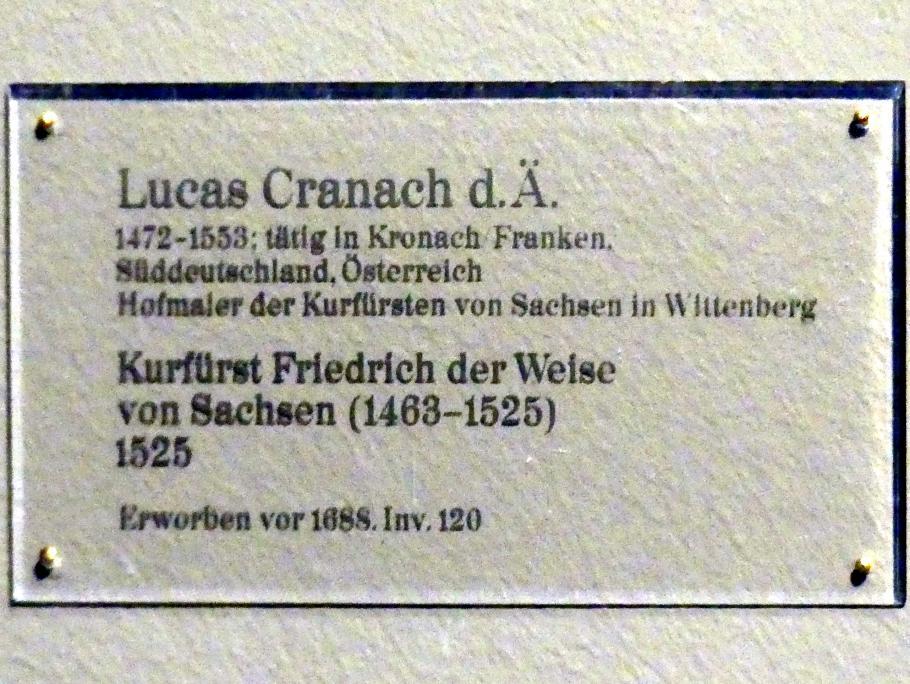 Lucas Cranach der Ältere: Kurfürst Friedrich der Weise von Sachsen (1463-1525), 1525, Bild 2/2