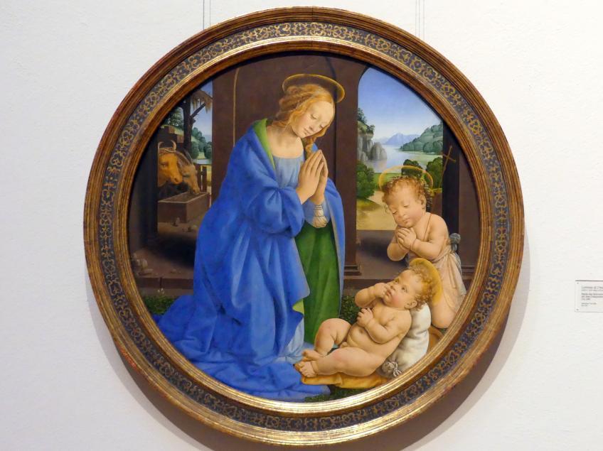 Lorenzo di Credi: Maria, das Kind anbetend mit dem Johannesknaben, um 1480