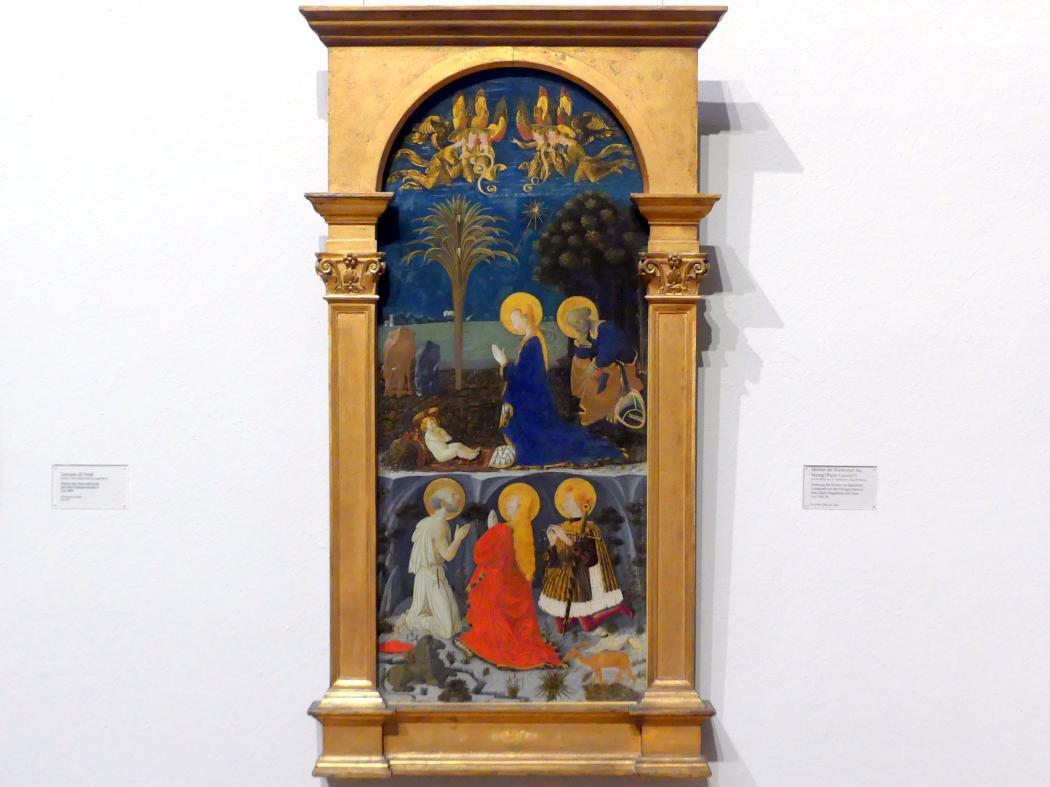 Paolo Uccello (Paolo di Dono): Anbetung des Kindes vor nächtlicher Landschaft mit den Heiligen Hieronymus, Maria Magdalena und Julian, um 1440 - 1450