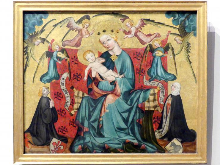 Thronende Maria mit dem Kinde, Engeln und einem knienden Stifterpaar aus der Nürnberger Familie Erlbeck, 1430 - 1440