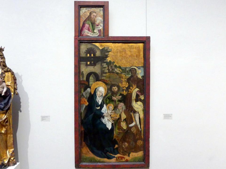Die Anbetung der Heiligen Drei Könige mit Brustbild eines Propheten (Jesaia?), 1505