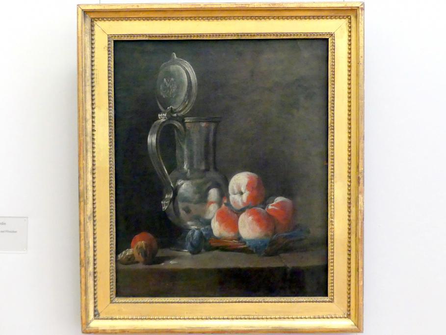 Jean Siméon Chardin: Stillleben mit Zinnkrug und Pfirsichen, um 1728
