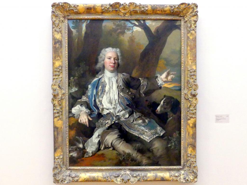 Nicolas de Largillière: Bildnis eines jungen Edelmannes im Jagdkostüm, um 1730