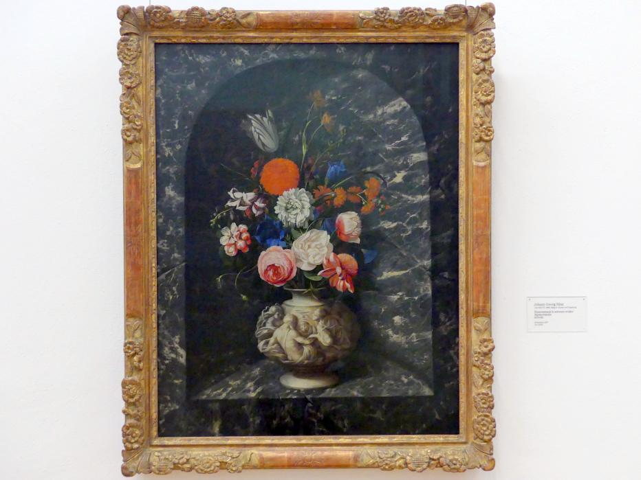 Georg Hinz: Blumenstrauß in schwarz-weißer Marmornische, 1670 - 1680