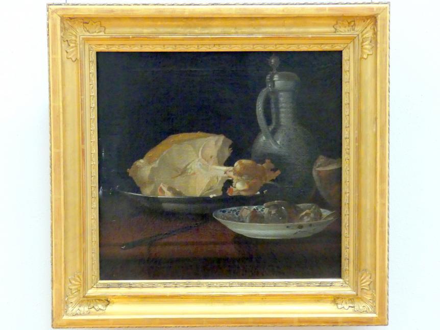 Justus Juncker: Frühstücksstillleben mit Kalbsbraten und Wurst, 1735 - 1755