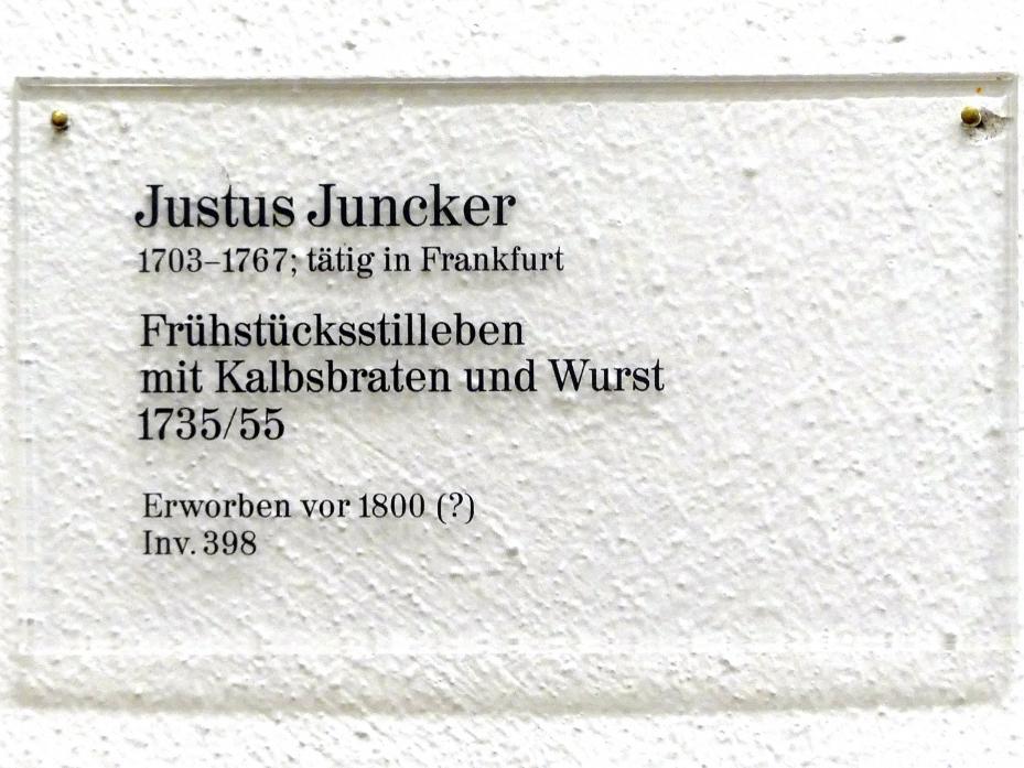 Justus Juncker: Frühstücksstillleben mit Kalbsbraten und Wurst, 1735 - 1755, Bild 2/2
