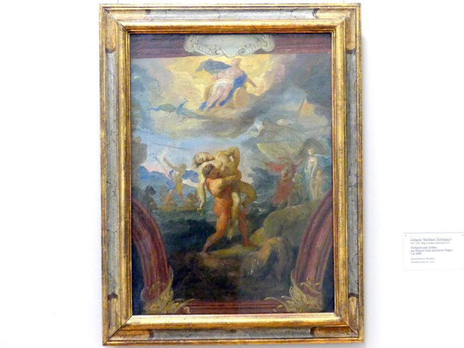 Johann Michael Rottmayr: Herkules und Antäus, am Himmel Juno auf ihrem Wagen, um 1696
