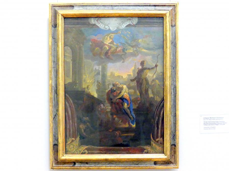 Johann Michael Rottmayr: Äneas rettet seinen Vater Anchises aus dem brennenden Troja, am Himmel Vulkan auf seinem Wagen, um 1696