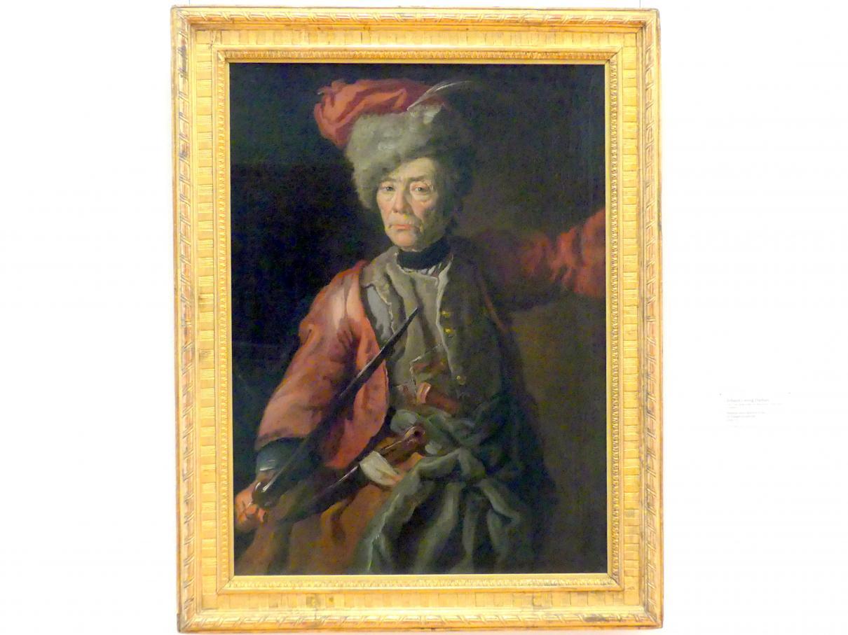 Johann Georg Dathan: Bildnis einer älteren Frau in Husarenuniform, 1749