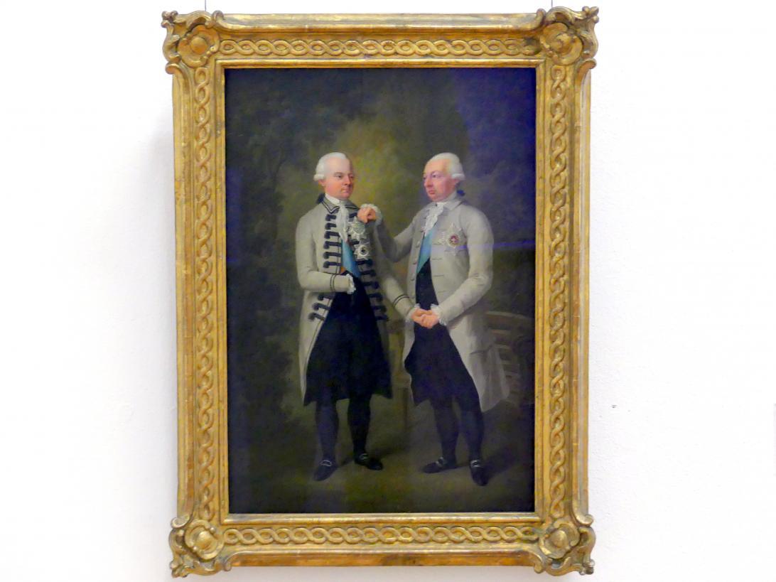 Heinrich Freudweiler: Markgraf Carl Friedrich von Baden und Erbprinz Carl Ludwig in Trauer über den Tod der Markgräfin Karoline Luise, nach 1783