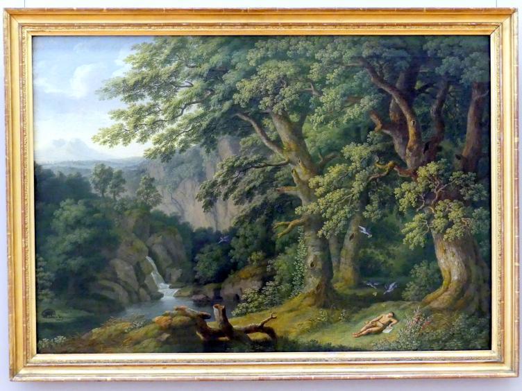 Jakob Philipp Hackert: Landschaft mit dem schlafenden von Tauben behüteten Knaben Horaz, 1805