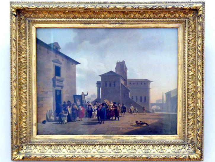 Nicolas-Antoine Taunay: Gemäldeauktion auf einem italienischen Platz, um 1795