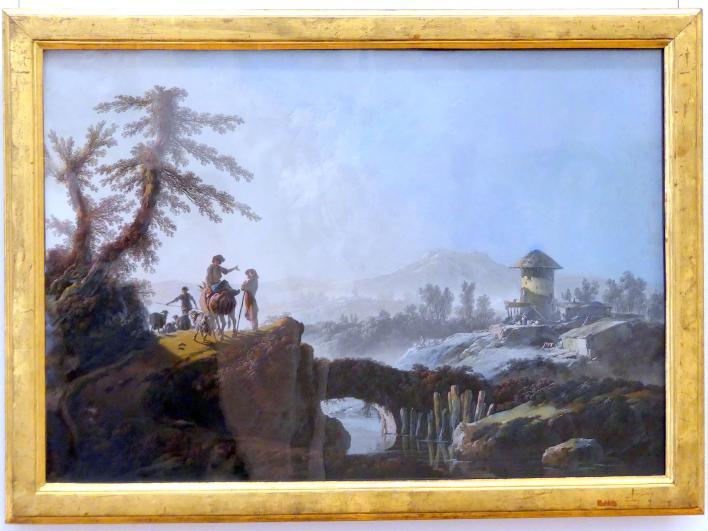 Jean-Baptiste Pillement: Bergige Landschaft mit einem überbrückten Wasserlauf und Hirten, 1782