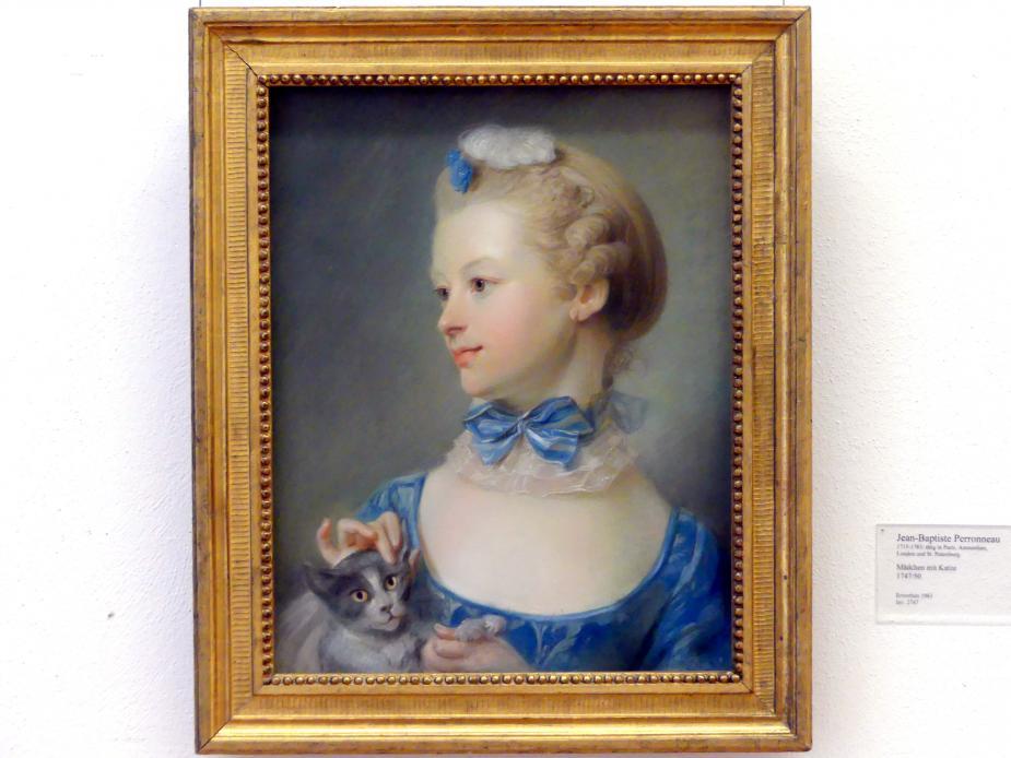 Jean-Baptiste Perronneau: Mädchen mit Katze, 1747 - 1750